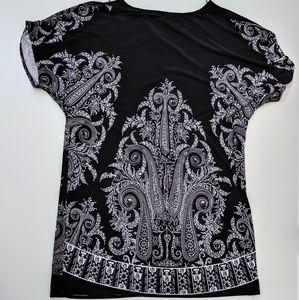 Black White Paisley Print Dress Cold Shoulder 14